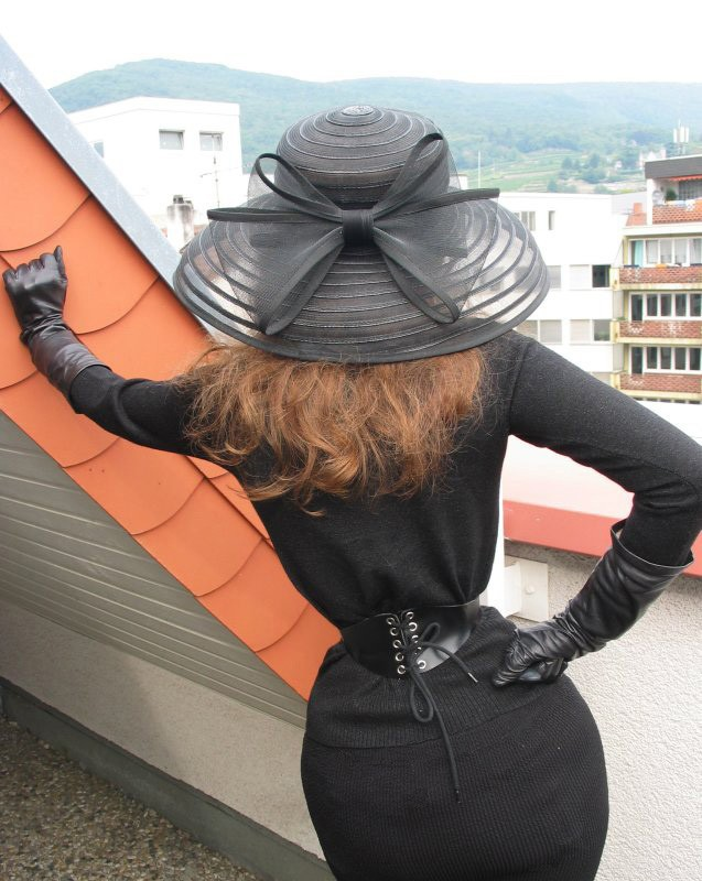 Girl in leather gloves and leather coat - 1 10