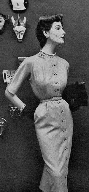 089571ed506 Balenciaga suit from 1948 with tight jacket showing off small waist and  long narrow skirt  photograph of model Elise Daniels by Richard Avedon.