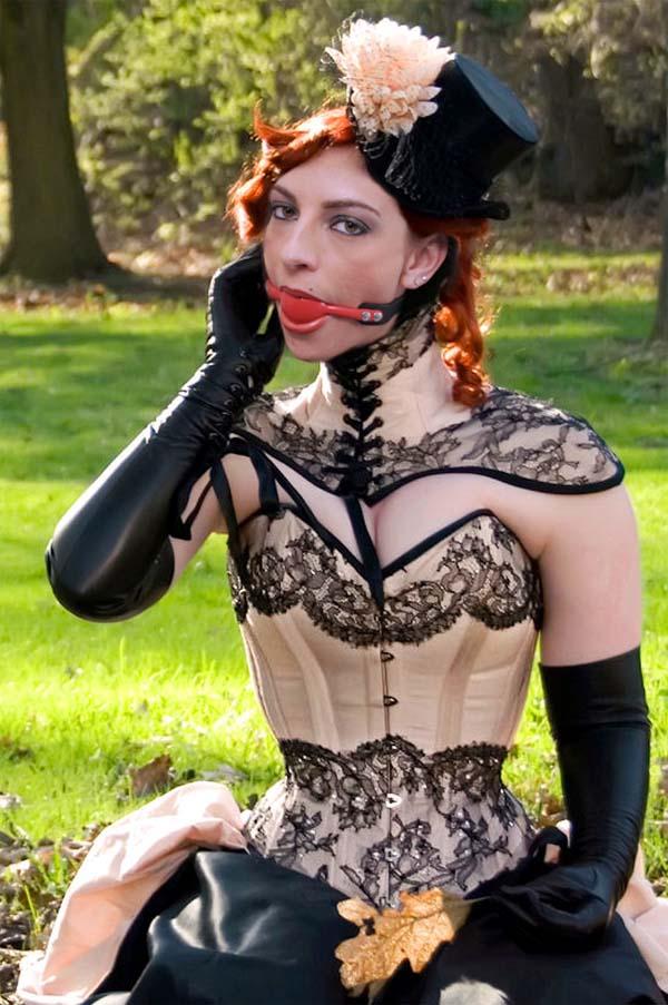 Slave hogtied in latex and ballet heels - 1 4